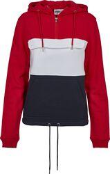 Ladies Colour Block Sweat Pull Over Hood
