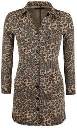 Leopard-Print Denim Dress