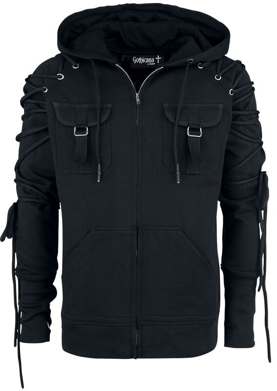 Black Hooded Jacket with Lacing