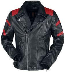 Schwarz/Rote Biker Lederjacke