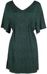 Robe Vert Foncé Avec Imprimé, Manches Amples Et Plissé À La Taille