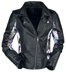 Floral Imitation Leather Jacket