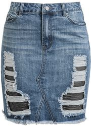 Denim Skirt with Mesh