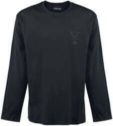 Black Long-Sleeve Shirt with Embroidery on the Chest