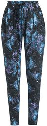Relaxed Black Trousers with Galaxy Print